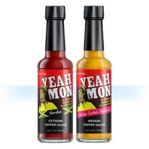 One bottle each of Yeah Mon Mango Scotch Bonnet and Yardie Pepper Sauce